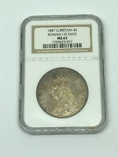1887 Great Britain 🇬🇧 4 S Shillings ROMAN I In Date Silver Coin MS 63 -* RARE!
