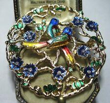 Large Vintage Style Pretty Enamel Crystal Love Birds Flower Jewellery BROOCH Pin