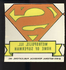 Superman Symbol Transfer (1972) Home of Superman Metropolis, Ill Unused EXC/NM