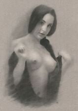 FEMALE NUDE Original Charcoal Chalk art drawing naked woman model NO RESERVE nr