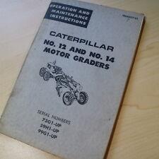 CAT Caterpillar 12 14 Motor Grader Operation Operator Maintenance owner Manual
