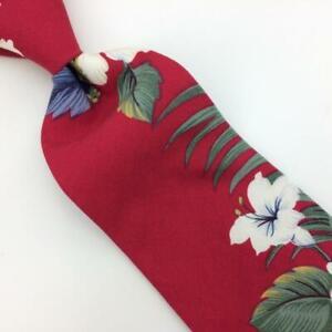 Iolani Hawaii Tie Rayon Red Flowers Floral Necktie Green Beige I16-35 Vintage