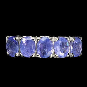 Unheated Oval Tanzanite 4x3mm 14K White Gold Plate 925 Sterling Silver Ring 7