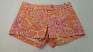 J Crew Womens Size 2 Mini Shorts Orange Paisley Cotton Stretch Short Shorts