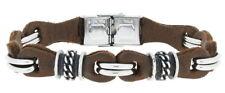 Clochard Mode Pure Bracelet pour Hommes Fin Natur-Nappa-Leder Edelstahl-Elemente