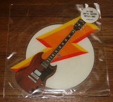 """AC/DC WHO MADE UK SHAPED 7"""" PICTURE DISC 1986 W/ ORIGINAL STICKERED PVC SLEEVE"""