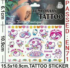 6x Ragazze Party Bag Filler Unicorno HELLO KITTY tatuaggio temporaneo Compleanno Favori