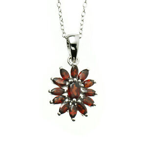 """Anderson and Webb 18"""" Ruby Garnet Marquise Pendant with Free Silver Plated Studs"""