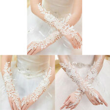 Crystal White Lace Bridal Glove Wedding Party Pageant Long Gloves Fingerless ATA