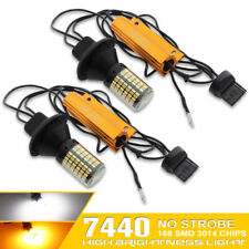 2X T20 7440 LED 168-SMD CANBUS Error Free White Amber DRL Car Turn Signal Light