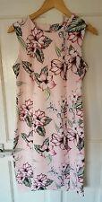 BNWOT £65 M&S Autograph Size 12 14 Pink Floral Pencil Dress Wedding Races Party