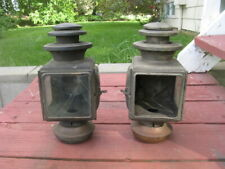 Maxwell Model 20 side lamps, pair, 1 brass, 1 nickel, good original condition