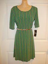 MSK Wear to Work Short Sleeve Geometric Print Dress With Belt Sz S