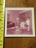 RARE OLD VINTAGE PHOTO CHRISTMAS TREE MORNING 1954 PRESENTS TRAIN AIRPORT