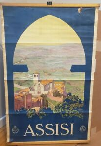 Original 1920s Assisi Italy ENIT Railways Vintage Countryside Travel Poster