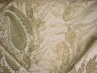 13-1/2Y BRUNSCHWIG & FILS SAGE MINT GOLD FLORAL SILK PAISLEY UPHOLSTERY FABRIC