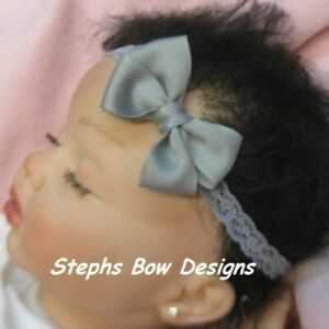 Gray Grey Dainty Hair Bow Headband FITS Preemie Newborn Baby Toddler Easter Cute