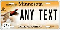 MINNESOTA Pheasant License Plate Novelty Personalized w/ Any Text for Auto ATV
