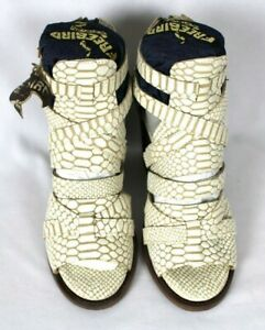 Freebird by Steven CLAW Ankle Croc Snake White Tan Zip Heeled Sandals Sz 8 NWOB