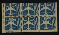 1958 Airmail Sc C51a booklet pane MNH fresh 50% plate number 26176