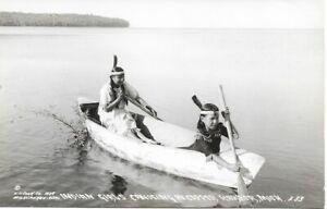 1939 RPPC Indian Girls Canoeing in Copper Harbor, MI; Michigan