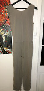 French Connection Cotton Crepe Long Jumpsuit Tapered Legs Size 10 Khaki Green