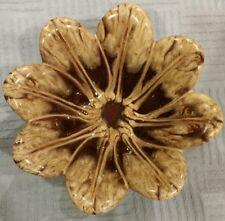 Evangeline Canada Canuck pottery brown cream drip glaze petal bowl vtg