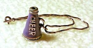 "Sterling Silver 7.25"" Bracelet with Purple Enamel Cheer Megaphone Pendant/Charm"