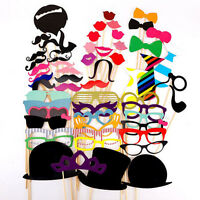 Fun 58PCS Masks Photo Booth Props Mustache On A Stick Birthday Wedding Party DIY