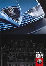 Alfa Romeo 145 Junior 1.6 TS 1998 Original UK Sales Brochure Pub No 02.9.9498.52