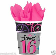 Sweet Sixteen 9oz Hot Cold Paper Cups 8pcs Sweet 16 Party Supplies