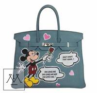 Hermes Birkin Bag Bespoke Mickey Mouse 35cm Togo Ciel Blue PHW - 100% Authentic