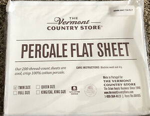 Company Store Bedding - White Percale Flat Sheet Twin, 100% Cotton
