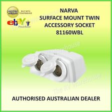 NARVA TWIN ACC SOCKET S/MOUNT WHITE 81160WBL