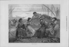 1875 Antique Print - ITALY Genoa Evening Boats Spinning Ladies Man Sea (200)