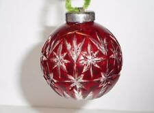 Waterford Crystal Ruby Red Cased Crystal Ball Ornament signed Fred Curtis 1999