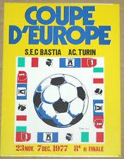 FOOTBALL CALCIO VOETBAL CARTE SEC BASTIA V TORINO AC UEFA CUP 1/8 FINAL 1977-78