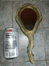 Vintage Gold Toleware Style Vanity Hand Mirror Made in Italy