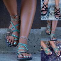 Womens Boho Gladiator Sandals Braided Slingback Summer Flats Shoes Size 6 - 10.5