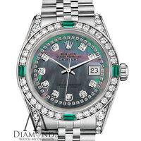 Rolex Datejust 26mm Black MOP String Diamond Emerald Jubilee Bracelet Watch