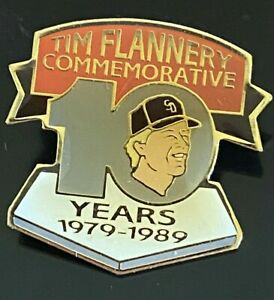 Tim Flannery Vintage Baseball Pin 10 Years SD Padres SF Giants 1979-1989 Enamel