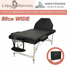 80CM Black Portable Aluminium Massage Table 3 Fold Beauty Therapy Bed Waxing NEW