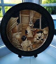 BRETBY Vintage Oriental Chinoserie Stoneware Decorative Wall Plate / Charger