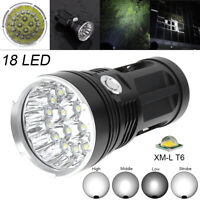 40000LM 18 x CREE XM-L T6 LED 4 Modes Flashlight 4 x 18650 Hunting Lamp Torch