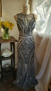 Vtg 1920,s style Downton grey beaded wedding collectable dress size 8/10 uk