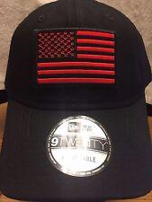 New Era NE201 Black Unstructured Cap Dad Hat w/ Black Red American Flag Patch