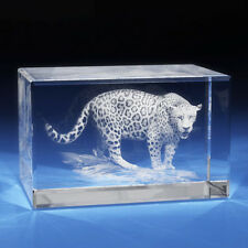 3D Laser Crystal Glass Etched Engraving Stand Jaguar Animals Landscape XXL