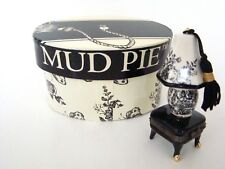 Mud Pie Porcelain Hinged Box - Black & White Toile Lamp Treasure Box