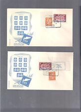 ISRAEL 1949 TABUL EXHIB CACHET 2 COV'S MIX FRANKING DOAR IVRI 1ST FESTIVAL TAB