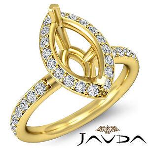 Halo Diamond Engagement VS1-VS2 Ring 0.51Ct 18k Yellow Gold Marquise Semi Mount